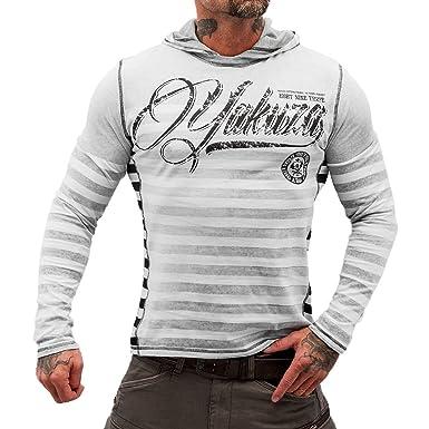 Yakuza Longsleeve Herren Hoodie Stripes Hooded Shirt HOB 7036 schwarz  gestreift 367fc24a2e