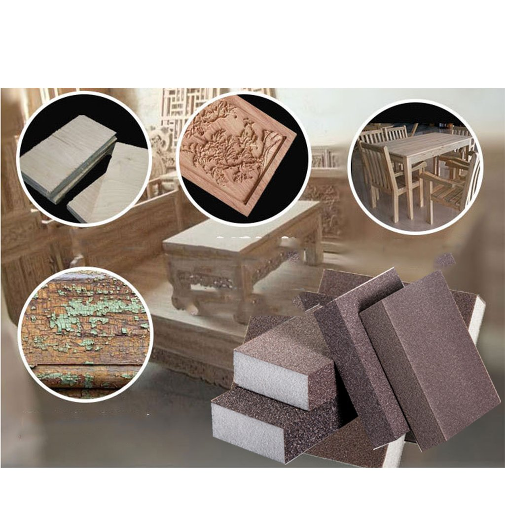 Rough 60-80 Grit 3pcs Esponjas Abrasivas Mano Soporte de Rejilla de Placa de Metal Red Resistente Pantalla