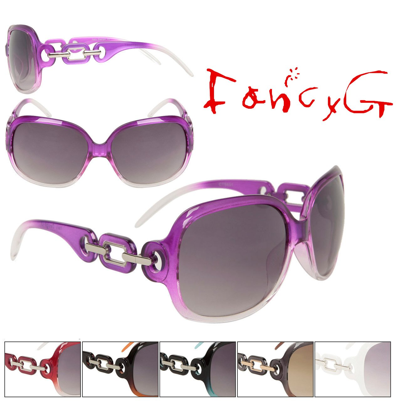 FancyG/® Womens Fashion Sunglasses Diamond Chain Style Vintage Look Assorted Package of 12