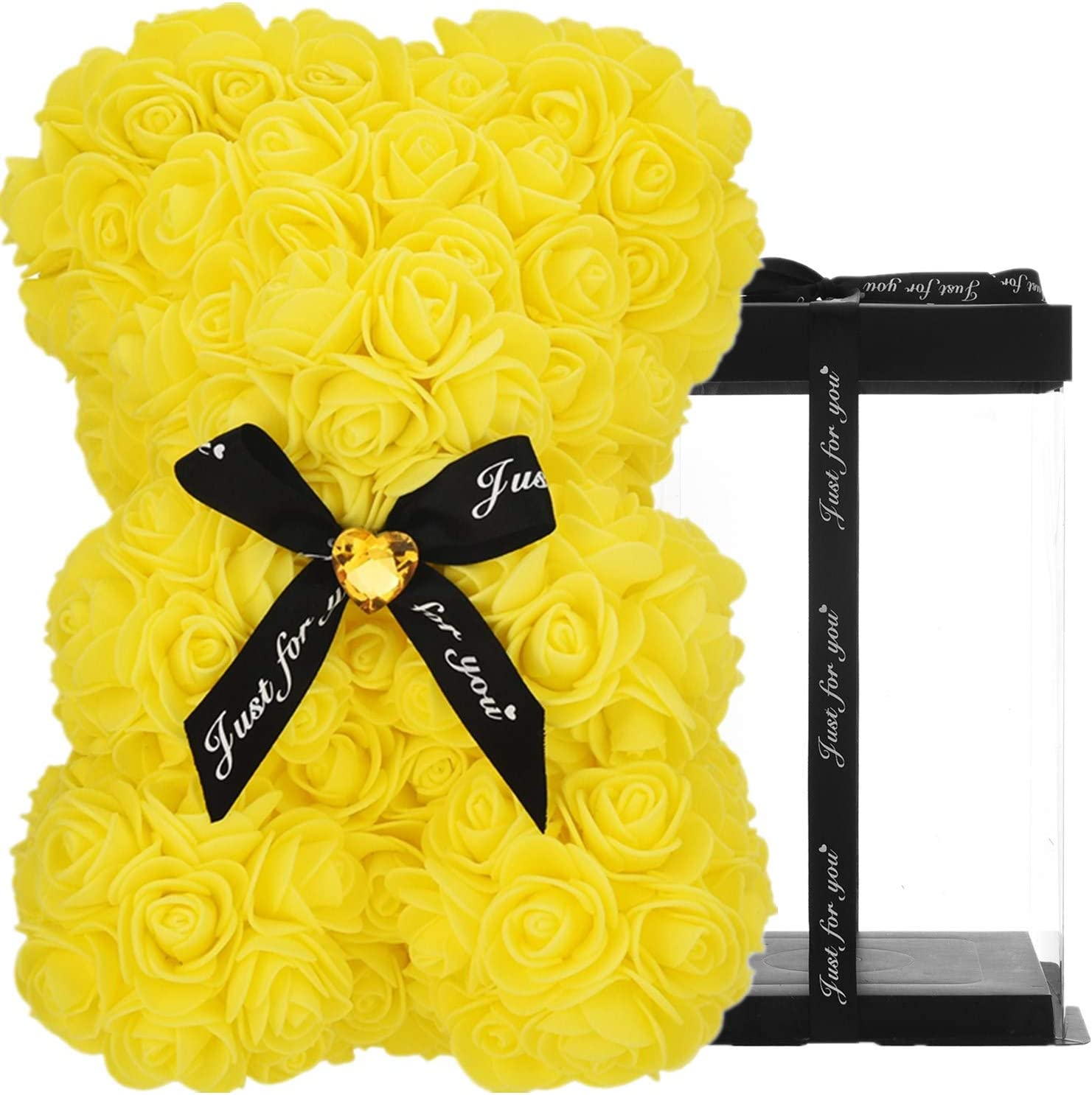 ZLJ Rose Bear, Rose Teddy Bear, 10 Inches Tall - Over 250+ Flowers on Every Rose Flower Bear, Perfect for Anniversary's, Birthdays, Bridal Showers, Mother's Day - 10 inch Clear Gift Box - Yellow