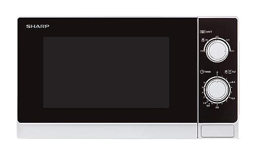 Sharp R-200WW Microondas 20L, Control Mecánico, 800W, Blanco, 800 ...