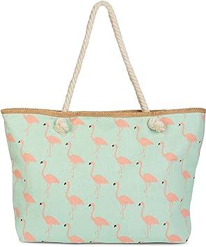 styleBREAKER bolso para la playa XXL con estampado de flamencos y cremallera, bolso de hombro, bolso para compras, señora 02012234, Color Menta: Amazon.es: ...