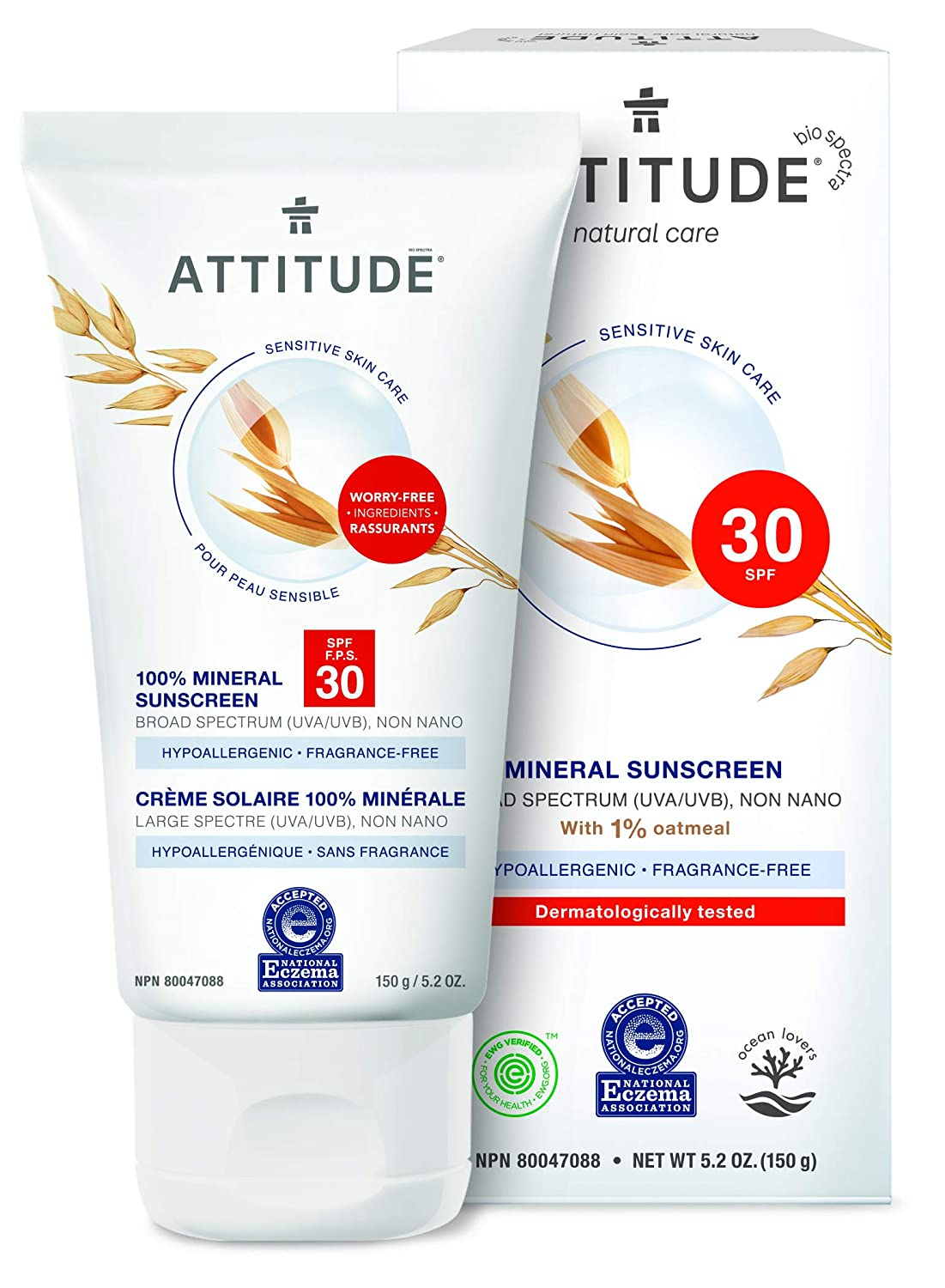 ATTITUDE Sensitive Skin, Hypoallergenic Mineral Sunscreen, SPF 30, Fragrance Free, 5.2 oz