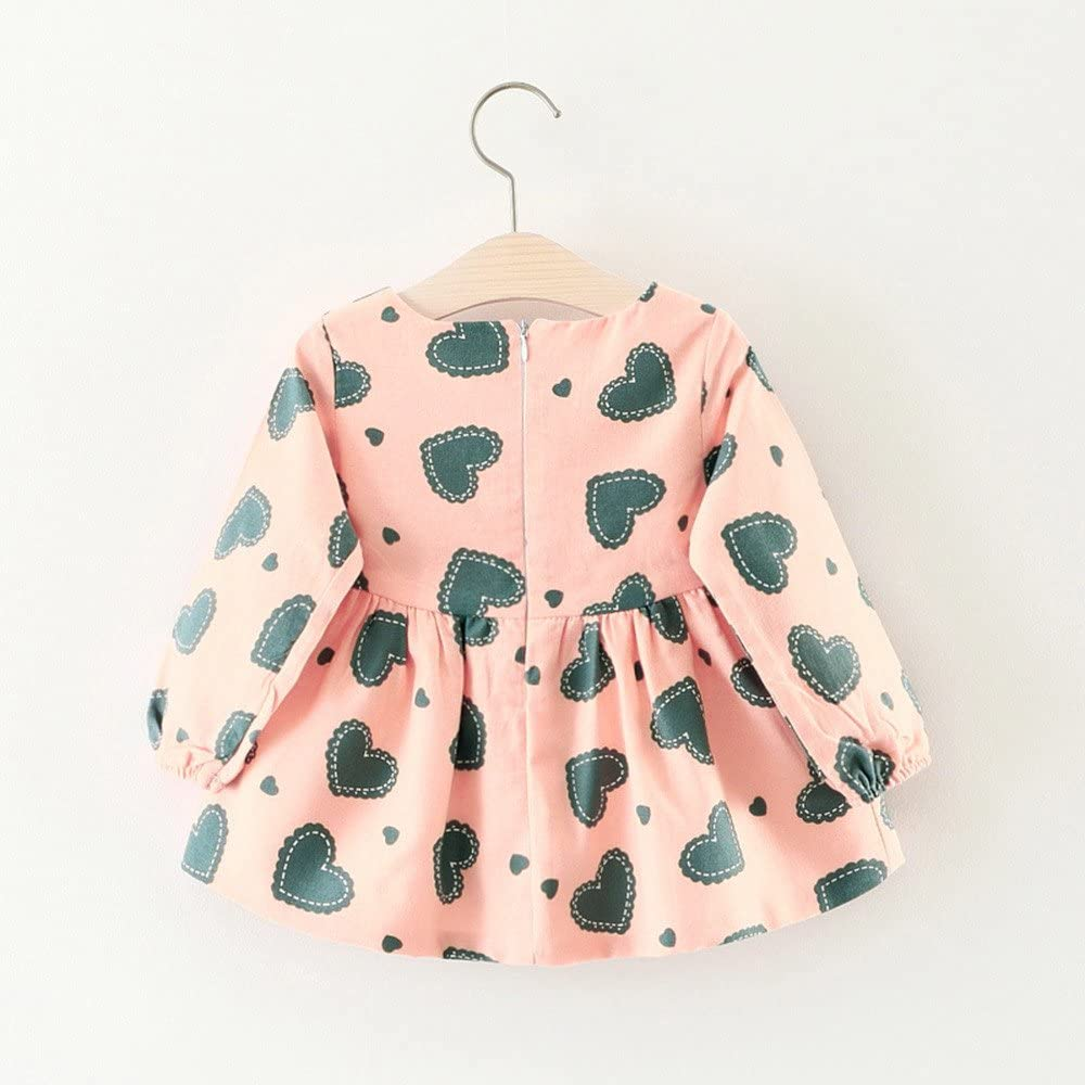Theshy Cute Toddler Baby Girl Heart Print Long Sleeve Princess Dress+Small Bag