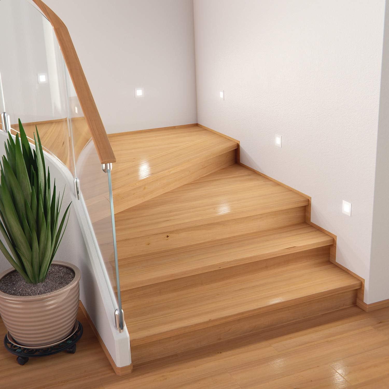 Black ledscom.de LED Staircase Light FEX Recessed Wall Light Cold White 230V 8,5x8,5cm Angular