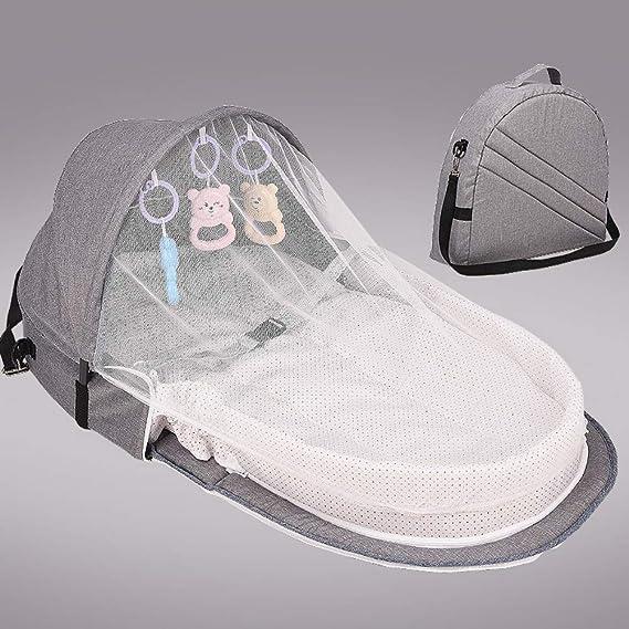 Lit de bébé portable Berceau pliable Nouveau-né Lit de voyage pour bébé Berceaux Nid Pod de couchage Berceau pour bébé avec lit à baldaquin, Moustiquaire Panier de couchage avec jouets