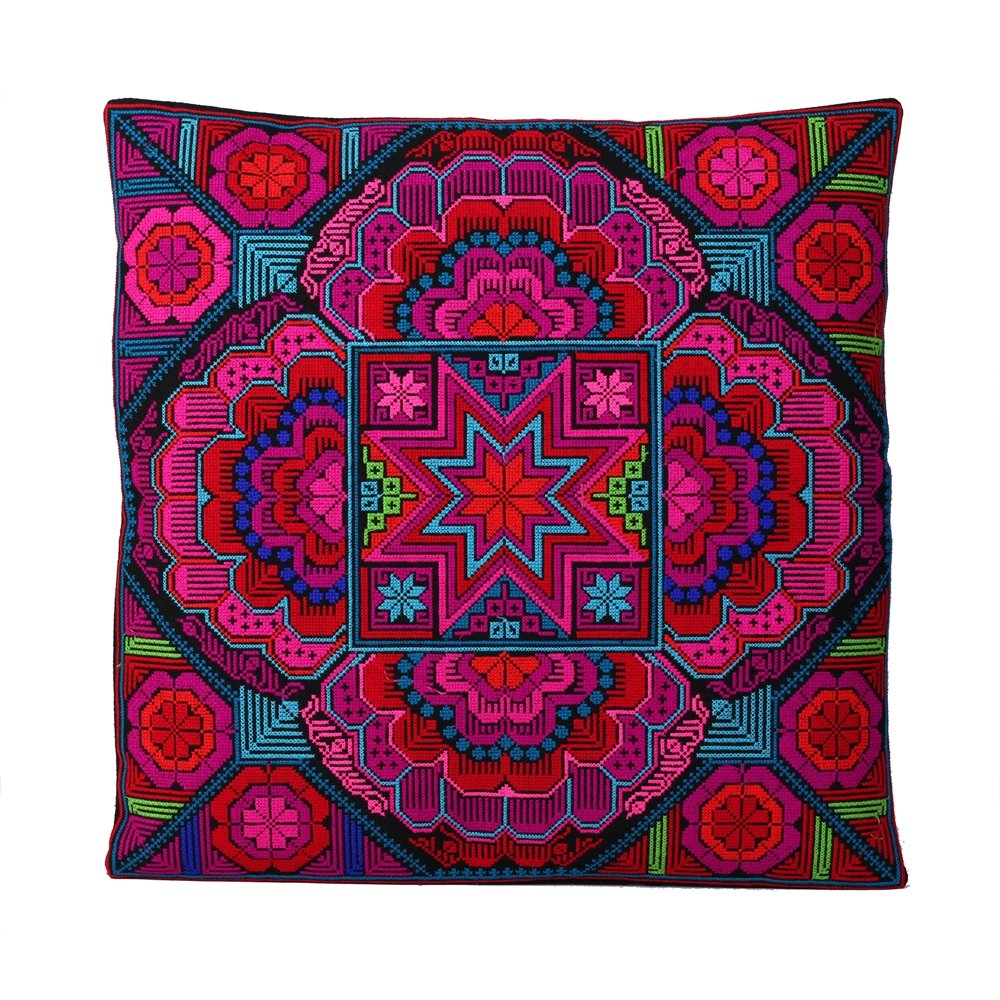 Decorative Handmade Embroidered Multicolor Thai Pillow Covers with geometric and animal design (Throw Toss Cushion Covers Case Cushion Cover for Sofa Couch Chair Bed Hmong Tribal) (Pink/red/purple)