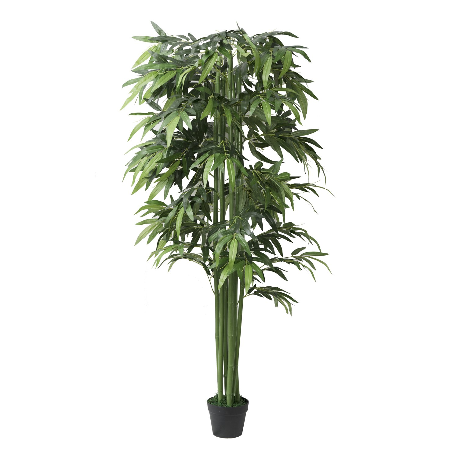 5.9Ft Potted Artificial Bamboo Tree Plant - Handmade Greenery Leaf Floor Plants for Indoor and Outdoor Decoration for Home Office and Hotels -Green Fake Plant Arrangement in Pot 1 Piece