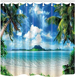 Shocur Beach Shower Curtain, Tropical Palm Trees and Cool Seawater Island Landscape, 69 x 70 Inches Summer Theme Bath Curtain, Polyester Fabric Bathroom Decor Set with 12 Hooks