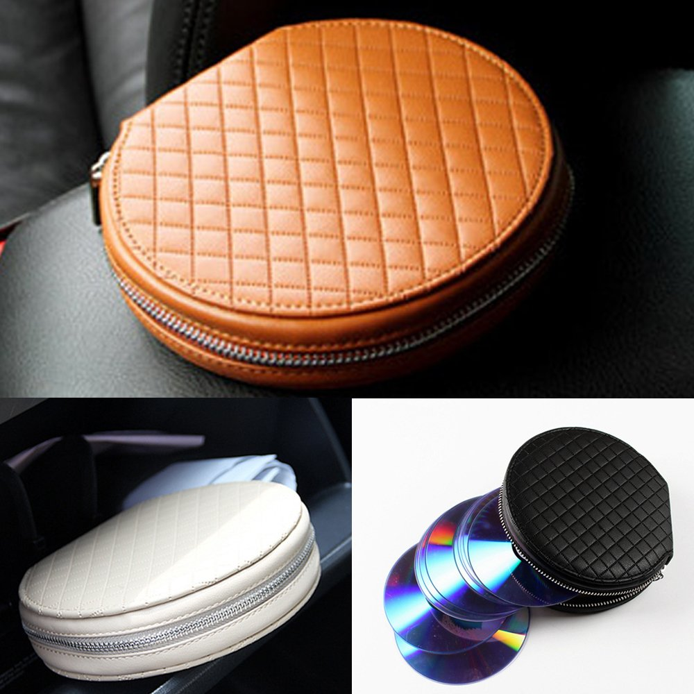 Disc CD DVD Media Storage Case Bag Wallet Allbum Holder PU Leather 20 Capacity for Car Home Office (Case Bag Black Color) by HitCar