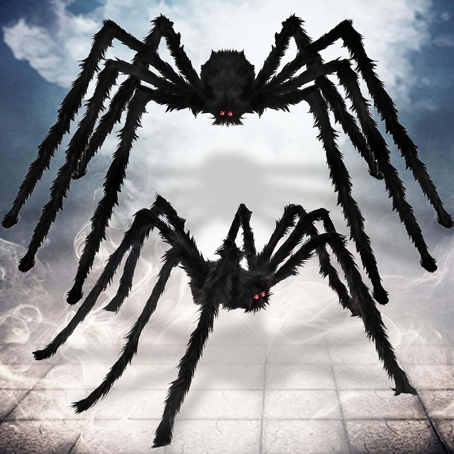 Apfity 2 Pack Halloween Decorations Spiders, Hairy Giant Spiders for Scary Halloween Decor Outdoor Wall Yard House, (6.5 FT + 5 FT)