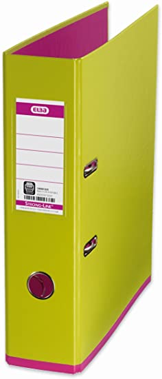 Amazon.com : Elba Strongline MyColour Lime Green and Fuschia Pink 80mm A4 Lever Arch Polypropylene File : Office Products