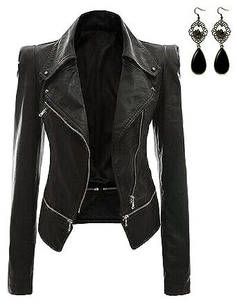 Oioninos Women Leather Jacket Slim Punk Bomber Casual Zipper Short  Coat 69b98a02f6ad