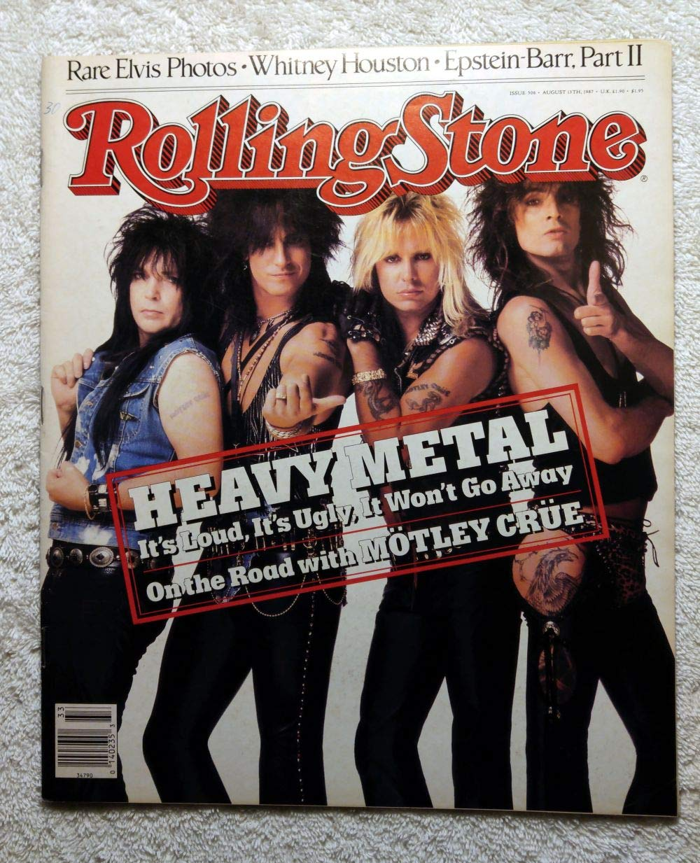 Mick Mars, Nikki Sixx, Vince Neil & Tommy Lee - Motley Crue - Rolling Stone Magazine - #506 - August 13, 1987 - No Address Label!