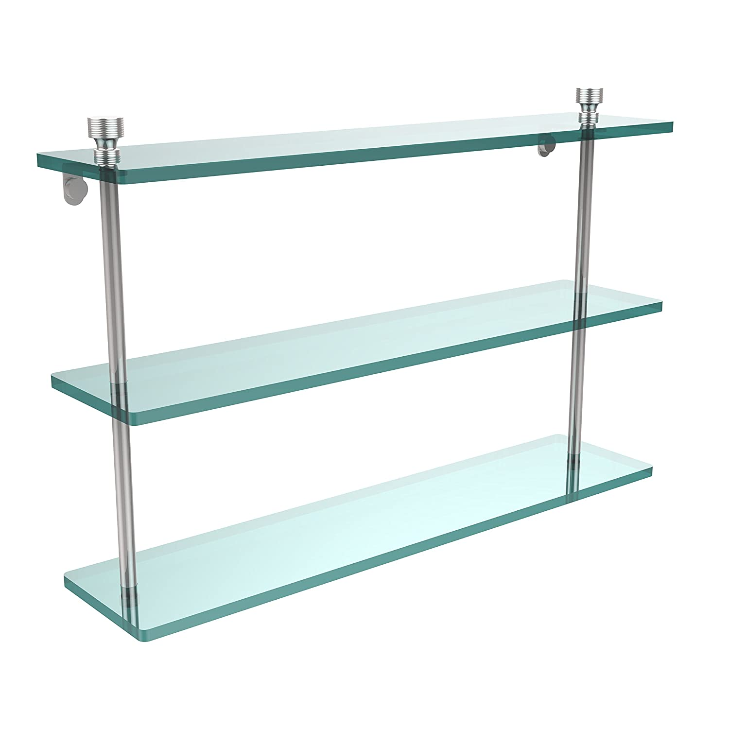 Polished Nickel Allied Brass FT-5//22-PNI Foxtrot Collection 22 Inch Triple Tiered Glass Shelf