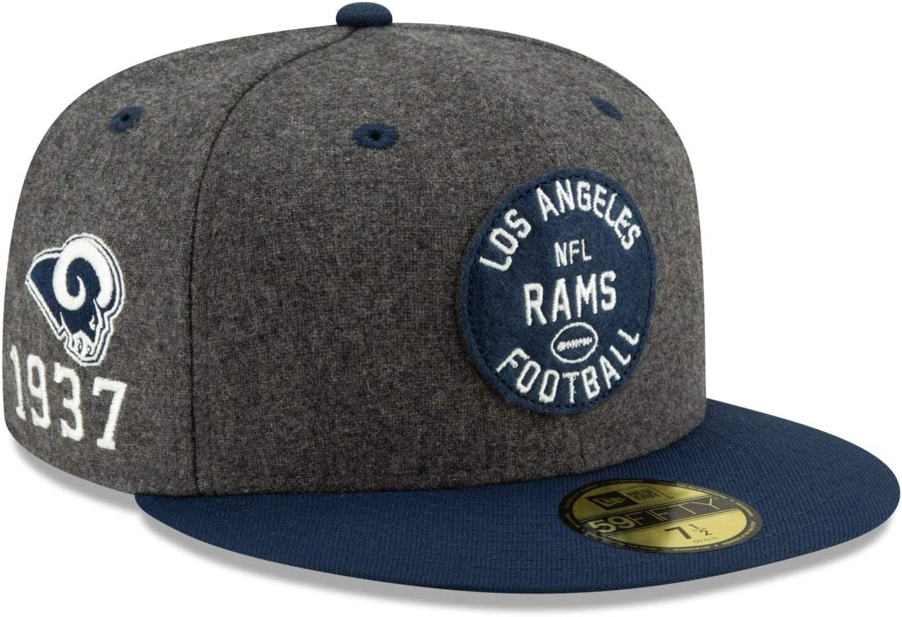 New Era Los Angeles RAMS Official NFL Sideline Road 59fifty Fitted Cap Gorra para Hombre