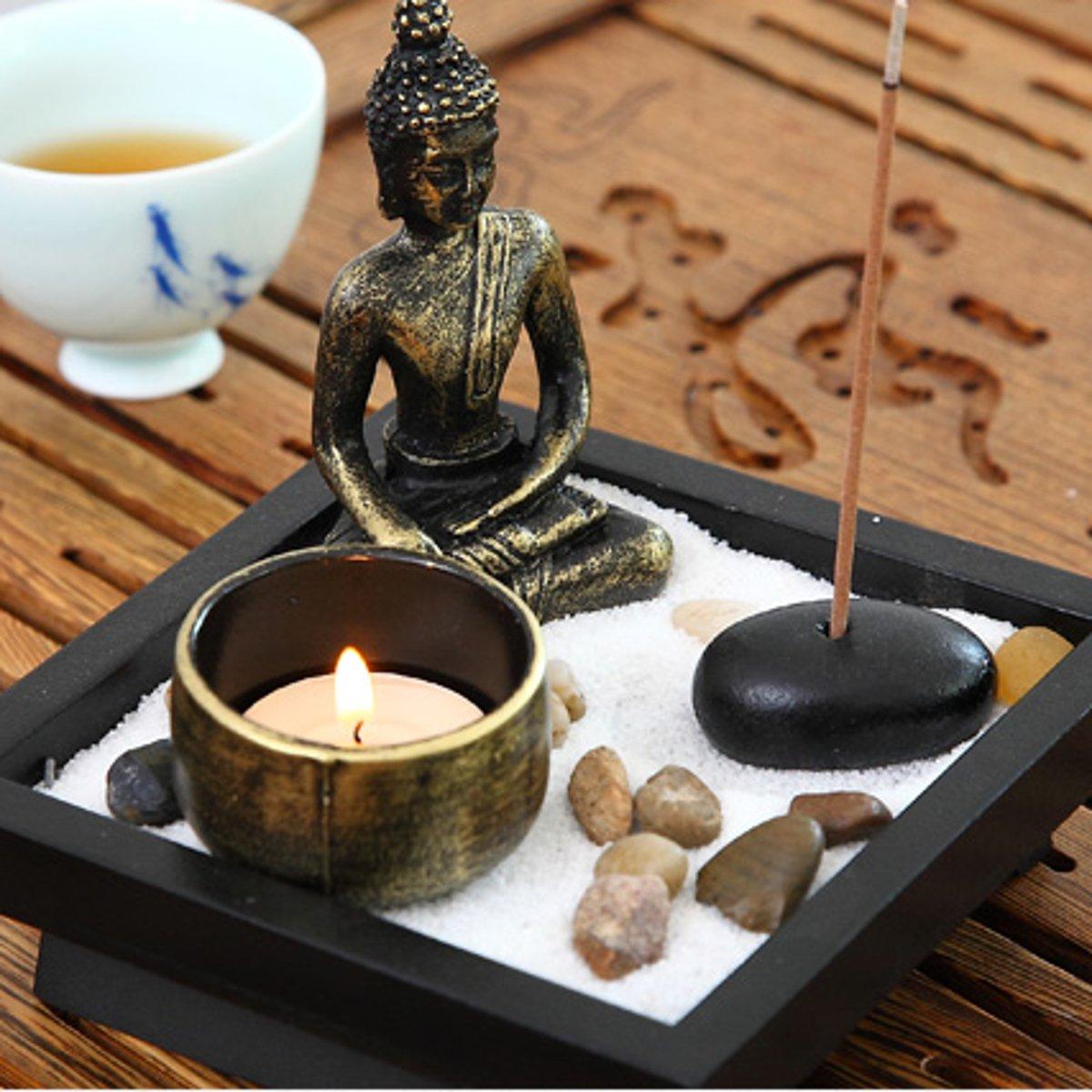 Jeteven Buddha -Statue Sitzend Chinesische Art Zen-Garten Harz Kerzenleuchter-Set Kerzenständer Teelichthalter Kerzenhalter (Buddha)
