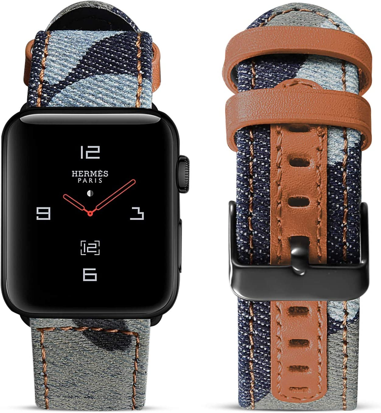 SKYLET Compatible with Apple Watch Band 42mm 38mm Series 5 Series 4 44mm 40mm Leather Band, Canvas Fabric Leather Wristband with Black Metal Buckle Compatible with Apple Watch Series 3 2 1 Men Women