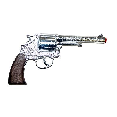 Déguisement Fete–Jouet Pistolet Revolver en métal 100Tirs de cowboy Costume Bandit Costume Brigand Mafia, 18cm, multicolore