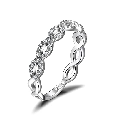 75f6da7df JewelryPalace Infinity Love 925 Sterling Silver Cubic Zirconia Wedding Band  Ring: Amazon.co.uk: Jewellery
