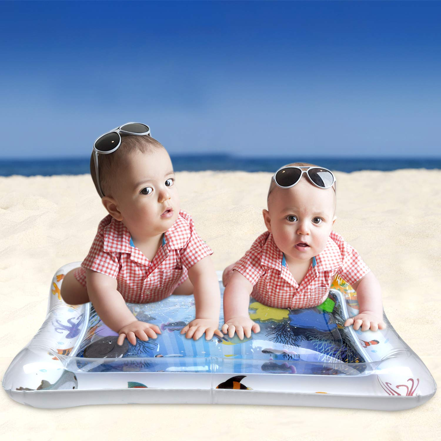 Tummy Time Water Mat Inflatable Water Play Mat for Infants /& Toddlers is The Perfect Fun time Play Activity Center for Babys Stimulation Growth-White