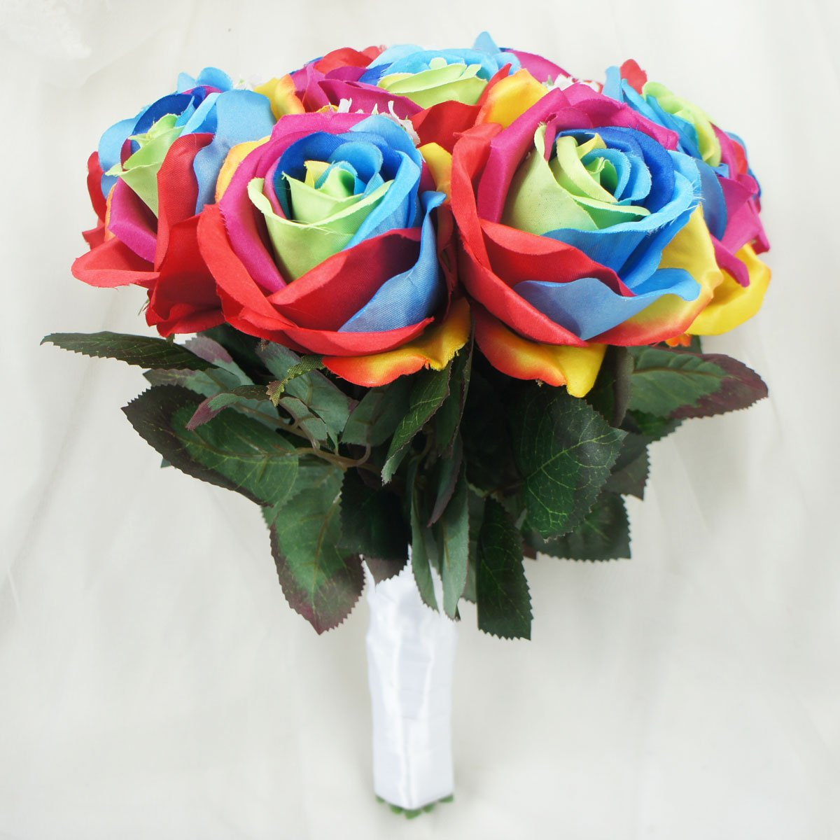 Amazon.com: Lily Garden Silk Rainbow Rose Flowers Bouquet Boutuniere ...