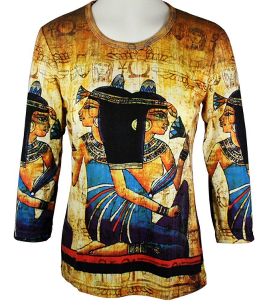 Breeke & Company - Egyptian, 3/4 Sleeve, Scoop Neck, Hand Silk Screened Top by Breeke & Company