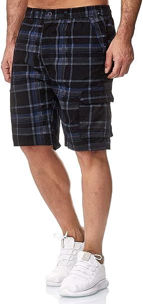 EGOMAXX Herren Cargo Shorts Basic Bermuda Capri Hose Kurze Hose H748