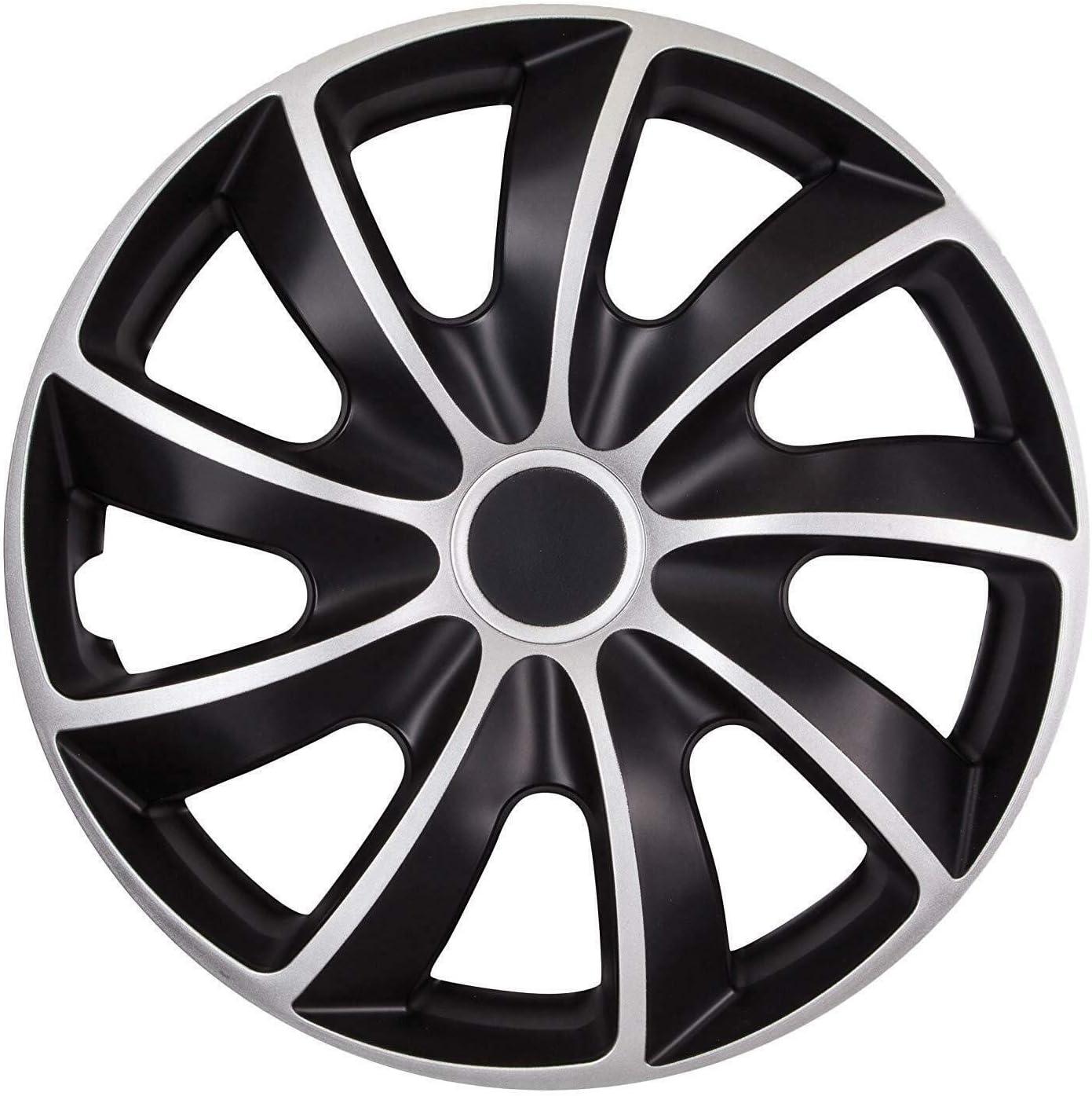 Tapacubos para llantas de acero OptimumParts24 84DP 15 pulgadas color plateado y negro