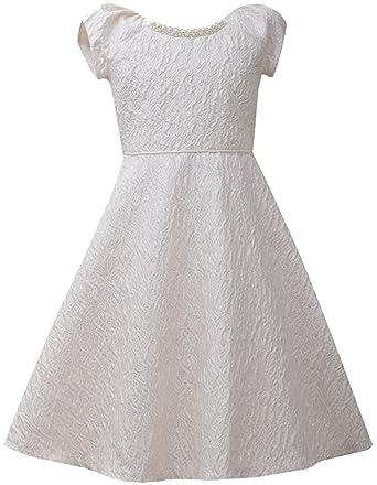 4d1d8821e9e Amazon.com  Big Girls Tween Ivory Metallic Jewel Neckline Brocade Fit and Flare  Dress