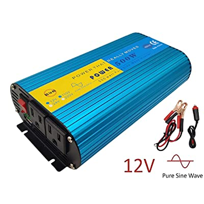 500Watt Pure Sine Wave Power Inverter DC 12V to AC 110V Car Adapter Power Converter with 2 AC Outlets USB Charging Port Car Charger for Solar RV Car Off Grid: Car Electronics