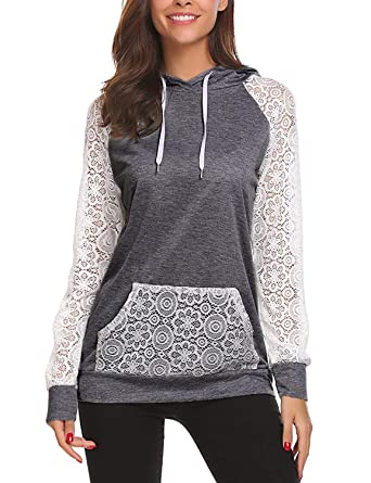 f88eef2a301c Ladies Hoodie Sweatshirts with Pocket Long Sleeve Pullover Shirts Blouse  Tops