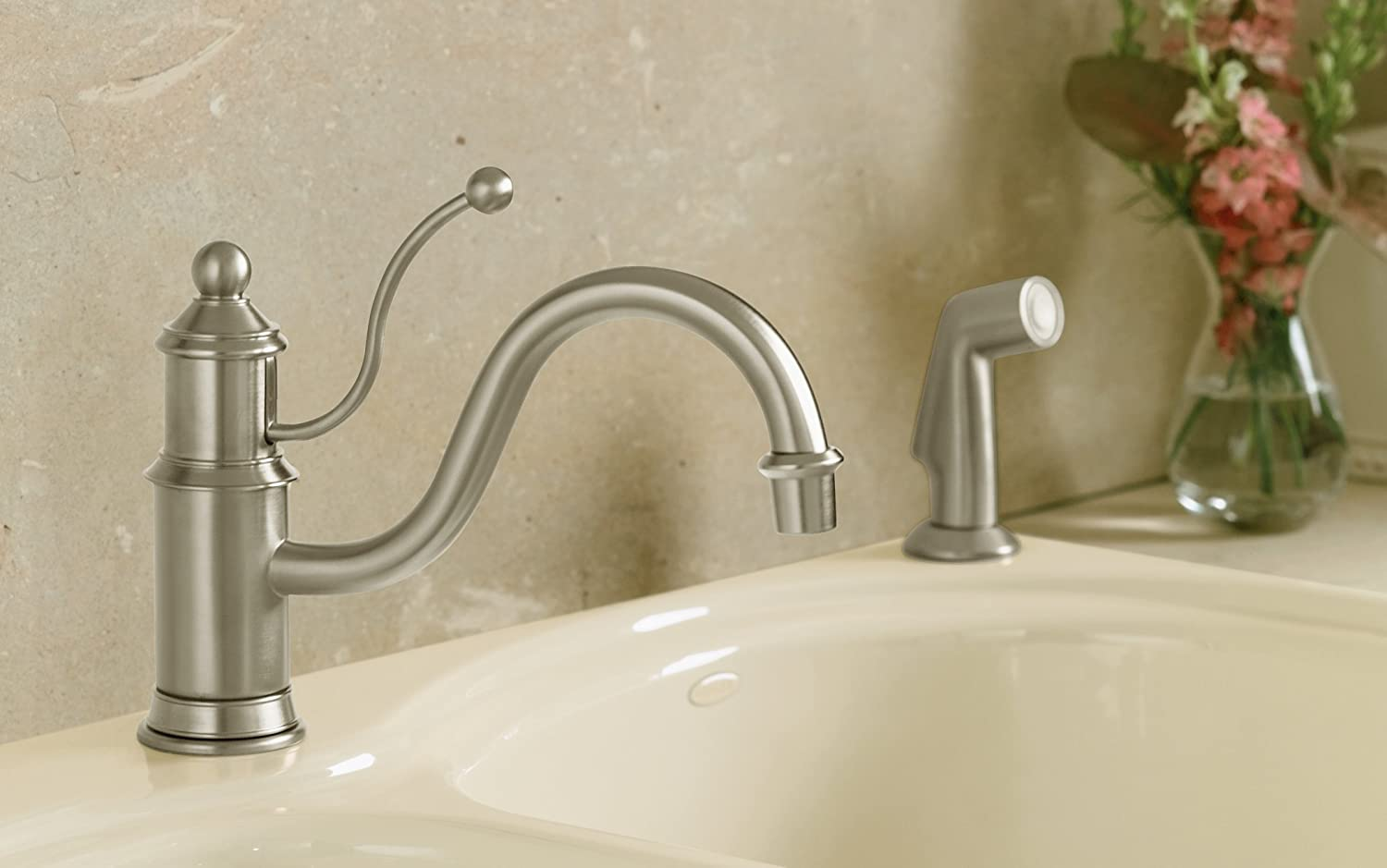 KOHLER K 169 BN Antique Single Control Kitchen Sink Faucet, Vibrant Brushed  Nickel   Touch On Kitchen Sink Faucets   Amazon.com