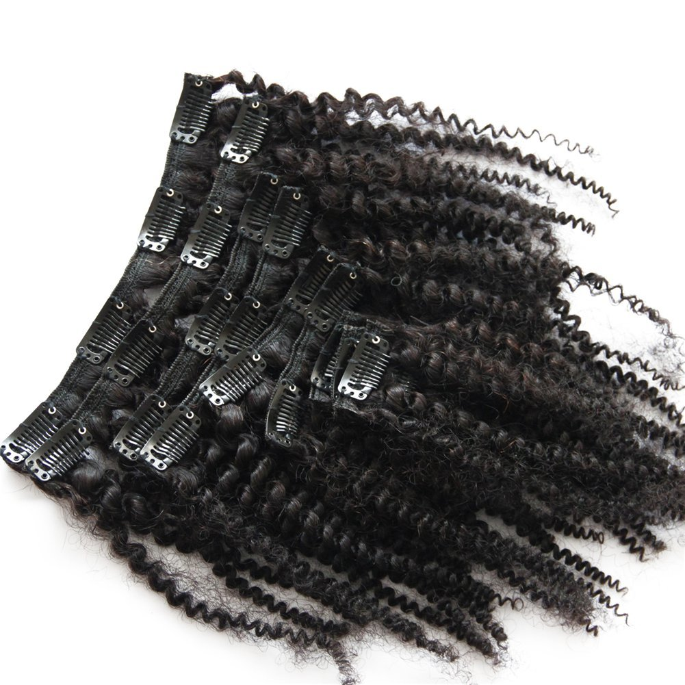 Remeehi 7pcs/set 70g Afro Kinky Curly Human Hair Extensions Clip In Extensions Natural Black Full Head Clip in Hair Extensions for Black Women 10
