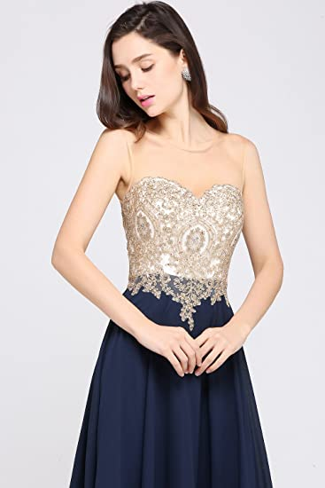 Sheer Neck Rhinestone Gold Lace Long Formal Evening Gown