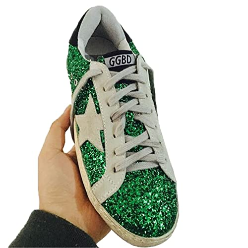 Dyxi Sequins Woman Glitter Star Casual Leather Breathable Do Old Shoe Green 6