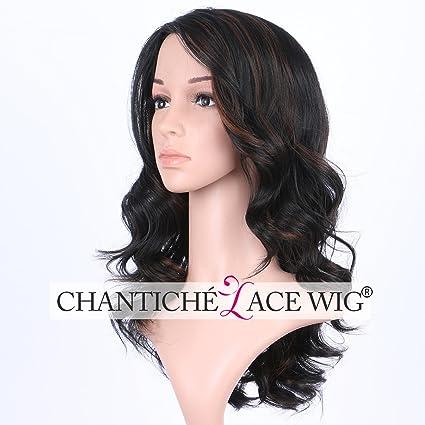chantiche barato negro largo, ondulado pelucas para mujeres Hightlight con tiras de color marrón suave