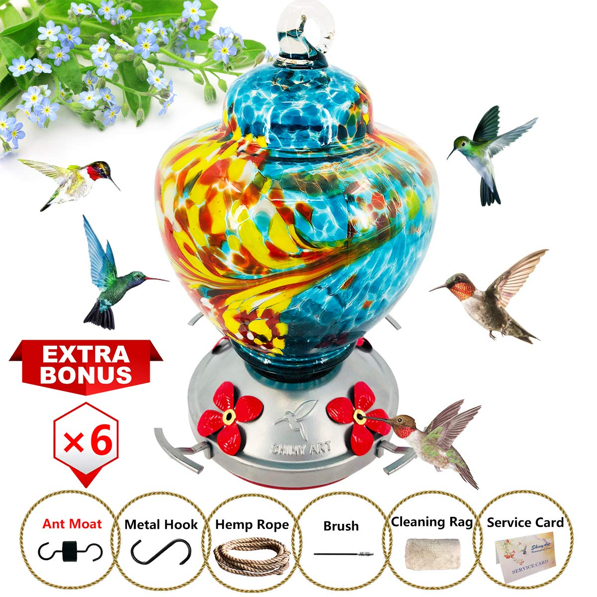 ShinyArt Hummingbird Feeder - Hand Blown Glass - Blue - 38 Fluid Ounces Nectar Capacity Include Ant Moat, Metal Hook, Hemp Rope, Brush, Cleaning Rag and Service Card