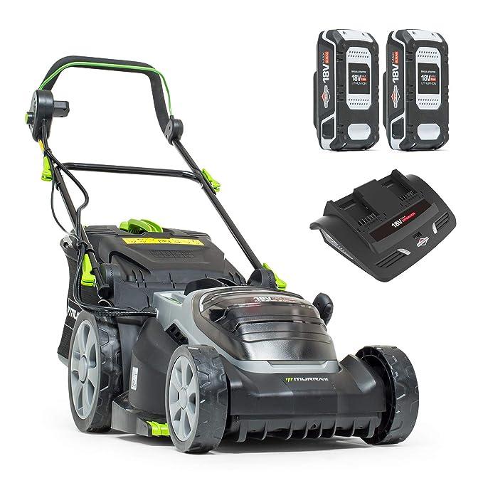 Murray IQ18WM37 18V Cortacésped Litio, 2x18V (36V), Incluyendo 2x2.5Ah Baterías y Doble Cargador, 37 cm