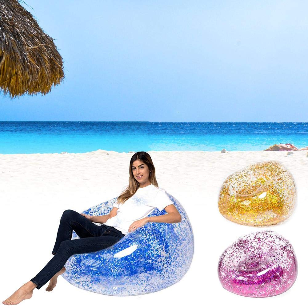 Sequins Inflatable Sofa Lounger Air Sofa Couch Cute Recliner Fashion Outdoor Cushion Bedroom Sofa Beach Chair Lazy Cute Comfortable Portable Sofa by puremood (Image #5)