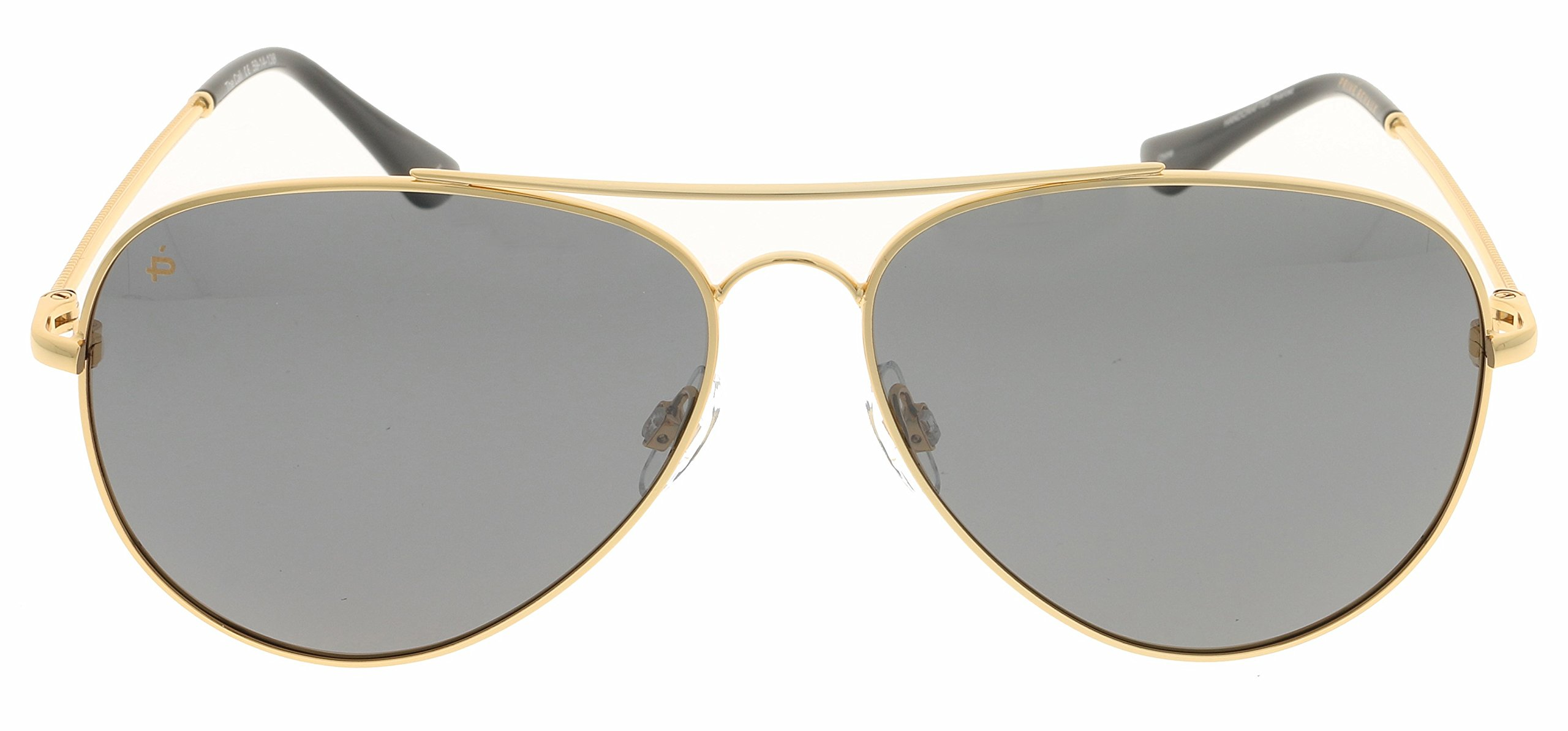 PRIVÉ REVAUX Places We Love Collection''The Cali'' Polarized Handcrafted Designer Aviator Sunglasses (Gold/Smoke)
