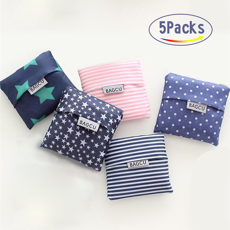 再利用可能な食料品バッグ、大容量Eco Friendlyショッピングバッグ、防水折りたたみ式トートバッグ( 5Pack ) B07BTN3F1G  Stars,Blue and Pink Stripe,Dots