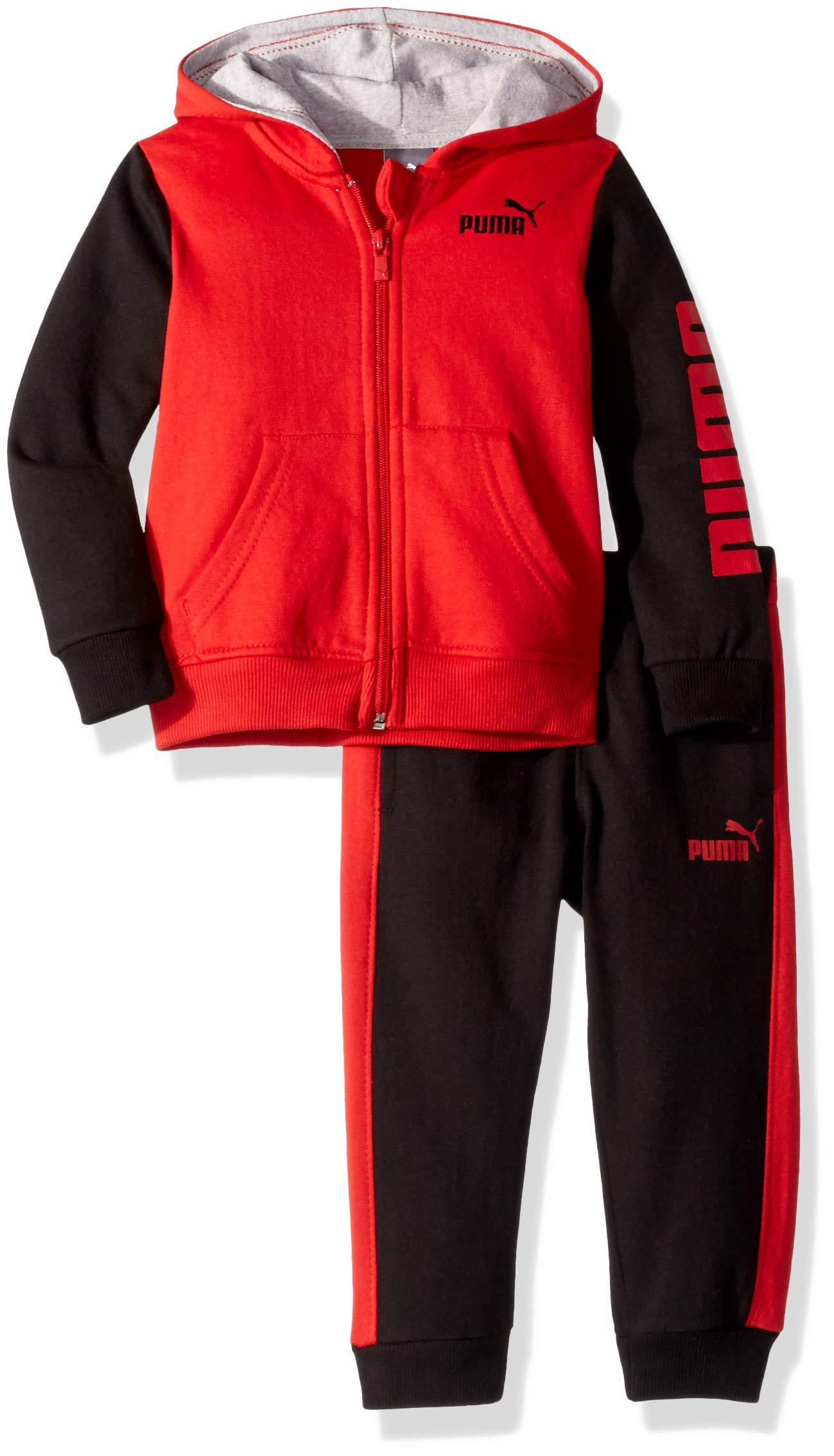 PUMA Toddler Boys' Fleece Zip Up Hoodie Set, Ribbon red, 4T by PUMA