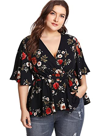 e1def04c0761 Romwe Women's Plus Size Floral Print Short Sleeve Belt Tie Peplum Wrap  Blouse Top Shirts Black