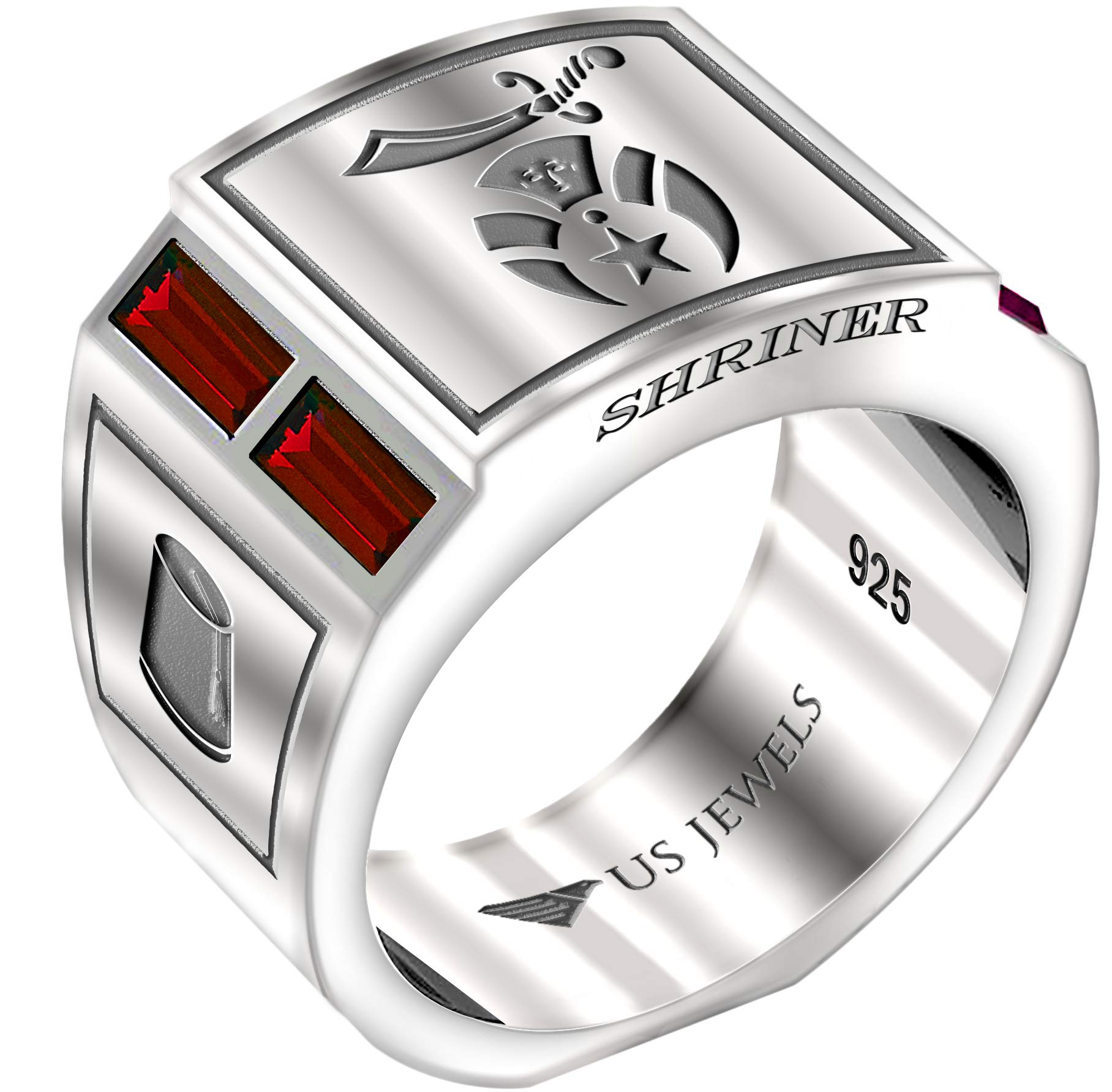 US Jewels And Gems Men's 0.925 Sterling Silver Simulated Ruby Shriner Freemason Masonic Ring, Size 12