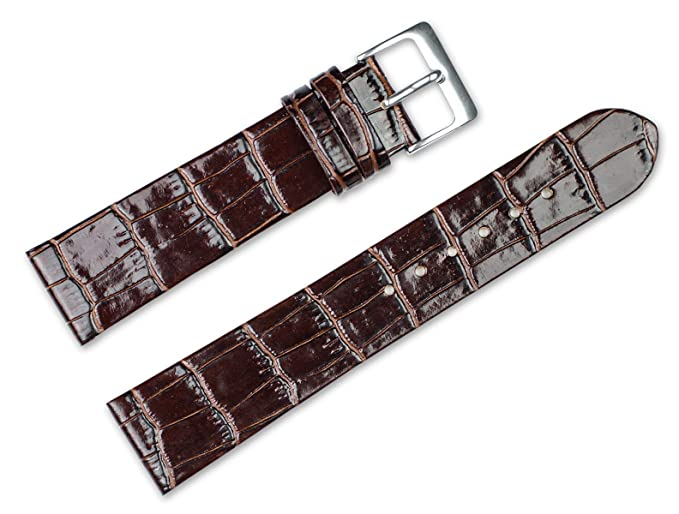 c17aeee6302e5 20mm Replacement Leather Watch Band - Alligator Grain Flat - Brown ...