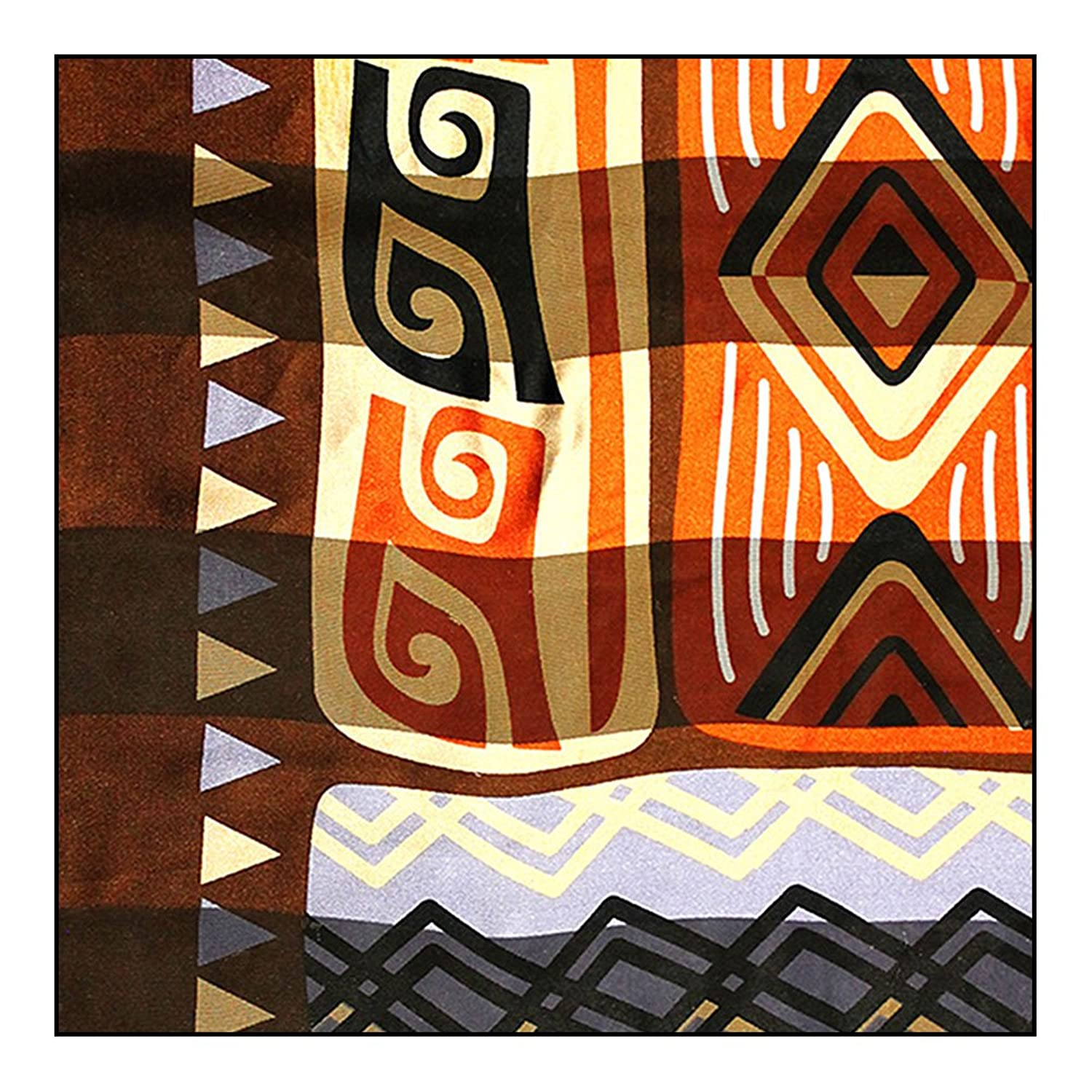 """African Geometric with Giraffe"" Silk-Feel Scarf (Earthy Brown, 40"" x 40"")"