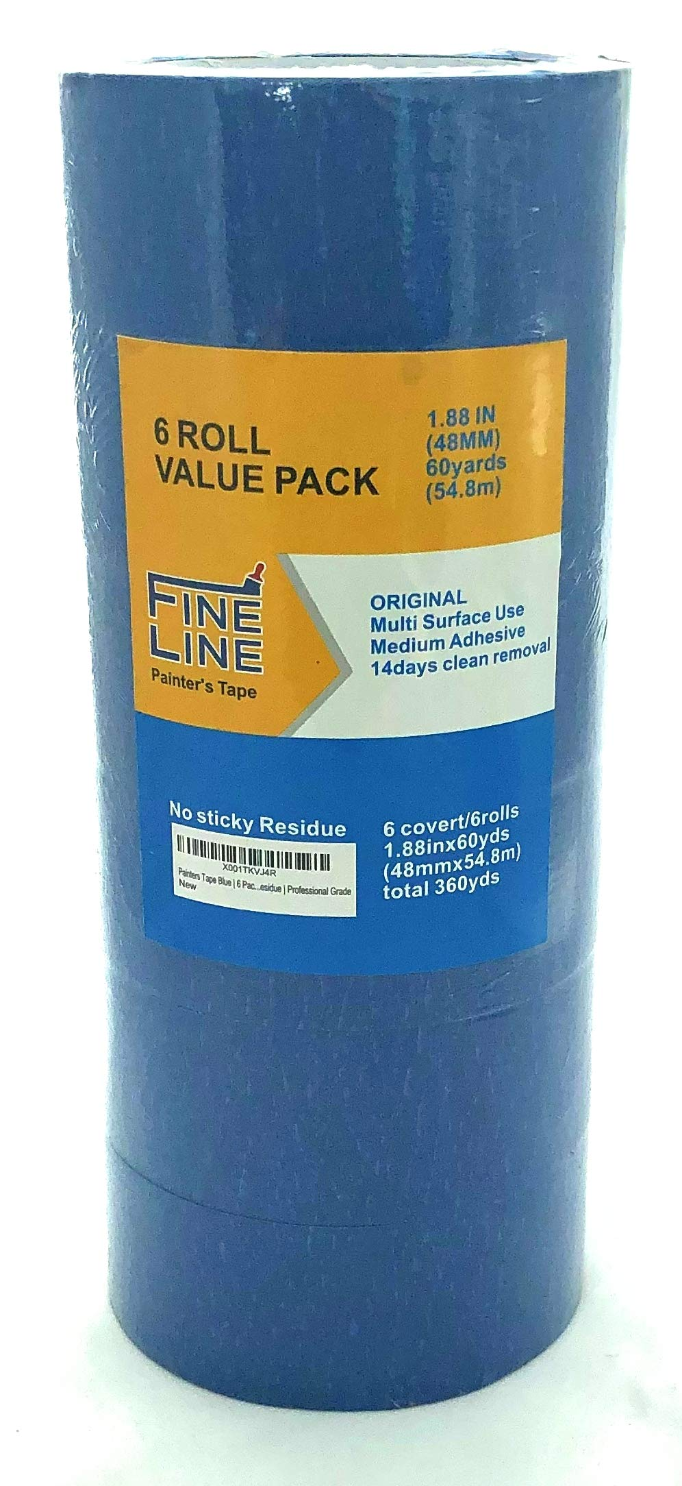Painters Tape Blue | 6 Pack | 1.88 inch 60 Yards | Fine Line | Clean Release | Medium Adhesive | Sticks Well Leaves No Residue | Professional Grade