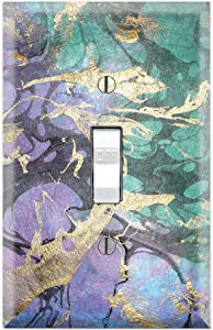 Graphics Wallplates - Purple Marble Green Pink Background Print - Single Toggle Wall Plate Cover