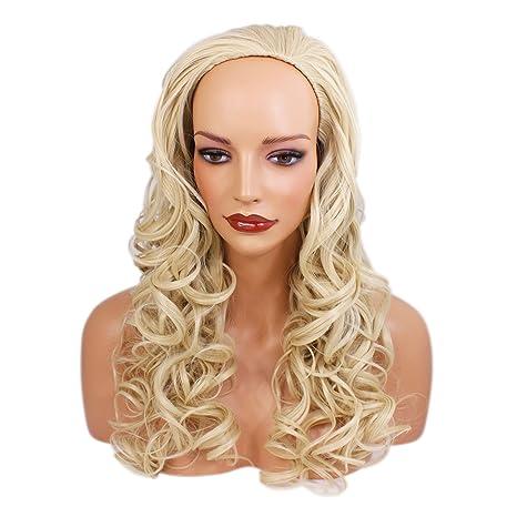 "Elegant Hair – 22 ""Ladies rizado 3/4 peluca – Rubio ligero #"
